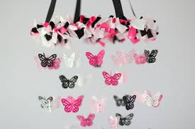 Butterfly Chandelier Pink Black U0026 White Butterfly Nursery Chandelier On Luulla