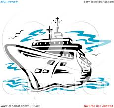 clipart black cruise ship royalty free vector illustration by