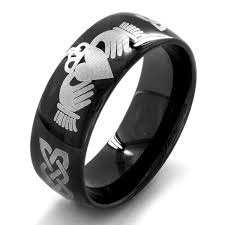 mens claddagh ring black plated stainless steel men s claddagh ring black free