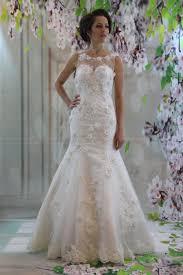 gorgeous 3d lace illusion neckline bridal gown white mermaid