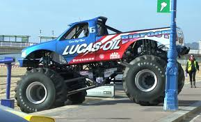 bigfoot electric monster truck bigfoot pick up truck takes to the beach youtube