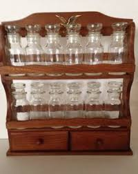 Vintage Wooden Spice Rack Vintage Spice Rack With 6 Spice Jars And 2 By Thumbbuddywithlove