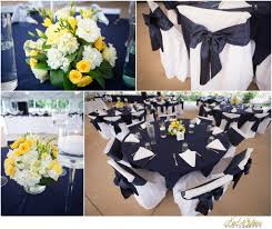yellow and blue nautical wedding reception decor and centerpieces