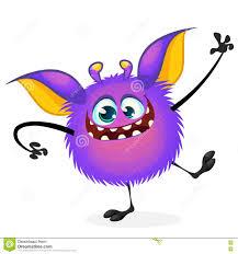 vector cartoon halloween monster waving furry purple round shaped