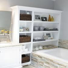 Contemporary Bathroom Storage by Gray Wall Paint White Shelving Cabinet Wooden Vanity Granite