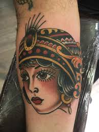 traditional lady head by nick collela great lakes tattoo