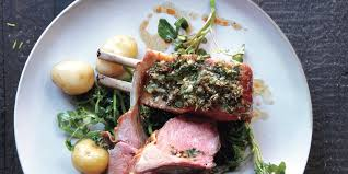 herb crusted rack of lamb with new potatoes recipe bon appetit