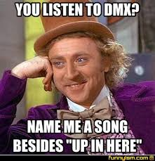 Dmx Meme - you listen to dmx name me a song besides up in here meme