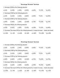 percentage increase and decrease worksheets by jfreeman90