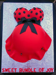 Ladybug Themed Baby Shower Cakes - how to make a pregnant belly cake with footprint tutorial on cake