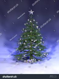 Blue And Silver Christmas Tree - blue silver christmas tree rendered on stock illustration 2271593