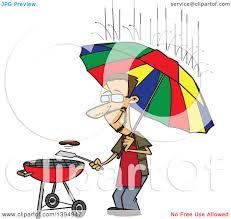 clipart of a cartoon dedicated white man holding an umbrella nd