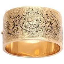 golden cuff bracelet images Wonderful antique american taille d 39 espargne gold wide cuff jpg