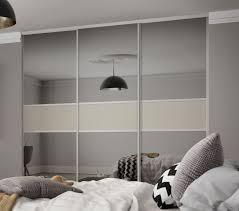 white glass doors classic 3 panel fineline sliding wardrobe doors in grey mirror and