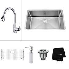 Kitchen Sink And Faucet Combo Kraus All In One Farmhouse Apron Front Stainless Steel 30 In