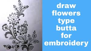 flowers designs by pencil sketch with colour drawing for machine