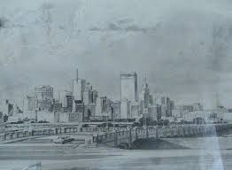 for sale a 1960s pencil sketch of city u0027s skyline by a member of