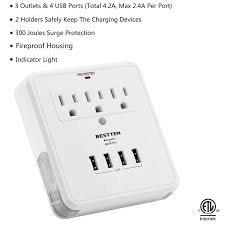 wall mounted surge protector bestten wall mount usb outlet surge protector four 4 usb
