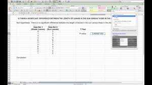 carrying out a t test in microsoft excel youtube