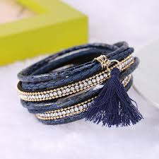 rhinestone buckle bracelet images Braided multilayer rhinestone leather bracelet femme 2018 jpg