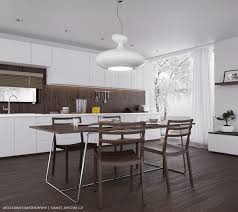 modern white kitchen design dark stone backsplash knotty pine
