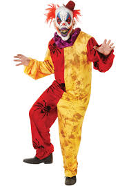Scary Clown Halloween Costumes Men Red Yellow Spiders Evil Clown Costume Horror Costumes