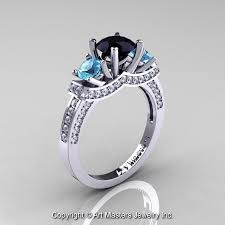 blue and white engagement rings 14k white gold three black blue topaz