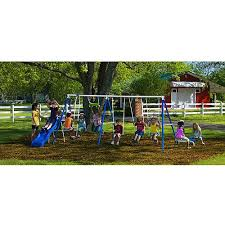 playground metal swing set swingset outdoor play slide kids