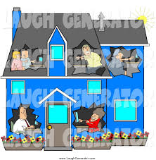 humorous clip art of a blue house with people using computers in
