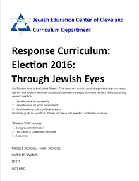 election 2016 through jewish eyes a response curriculum jecc