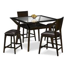 shop 5 piece dining room sets american signature furniture mystic counter height table 2 chairs and 2 backless stools merlot and chocolate