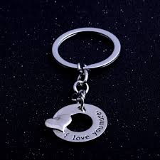 silver heart i love you more keyring for lovers couples romantic