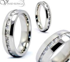 mens eternity rings men s and women s 316l stainless steel princess cut cz eternity