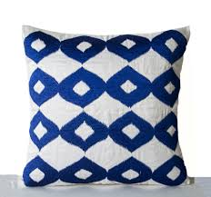 royal blue throw pillow embroidered 16x16 couch pillow royal blue