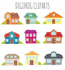 Cute House by Houses Clipart Set Clip Art Set Of Houses Bright Houses Cute