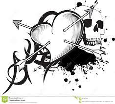heart and ribbon tattoo tshirt stock vector image 50761987