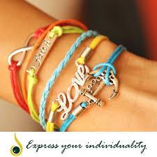 love charm leather bracelet images Multi color leather bracelet love faith infinite anchor theme jpg
