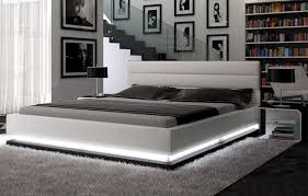 contemporary white platform bed with lights