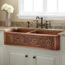 copper kitchen sink sink restaining cabinets pink chairs 25in