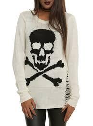 skull sweater ivory skull crossbones sweater topic