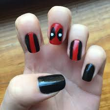easy nail art characters deadpool nail art hair and nails pinterest deadpool marvel