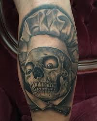 chef skull tattoo on leg best tattoo ideas gallery