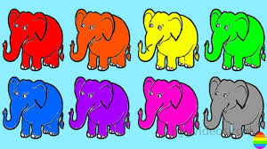 learn colors with elephant coloring pages rainbow ice cream