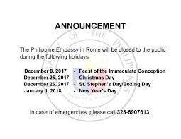 embassy holidays for december 2017 and 01 january 2018