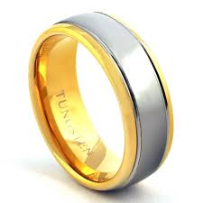 two tone wedding bands 14k gold plated two tone 8mm tungsten wedding band