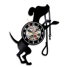 creative gift for dog lovers black vintage vinyl wall clock