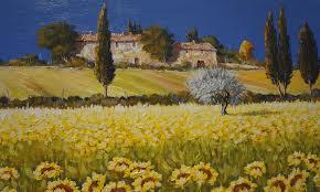 pattern landscape italy tuscany house sky tree the field flower