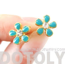 flower stud earrings floral flower stud earrings in turquoise on gold with rhinestones