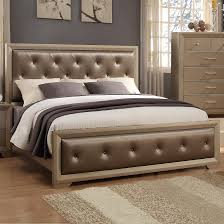 Upholstered Bedroom Sets Crown Mark Fontaine Queen Upholstered Bed With Golden Metallic