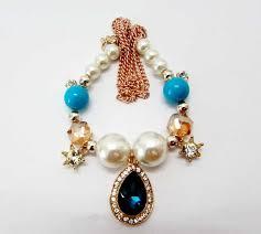 multi pearl bracelet images Multi layer stone pearl bracelet blue online jpg
